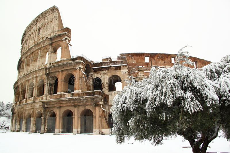 Coliseum die door sneeuw wordt behandeld stock afbeelding