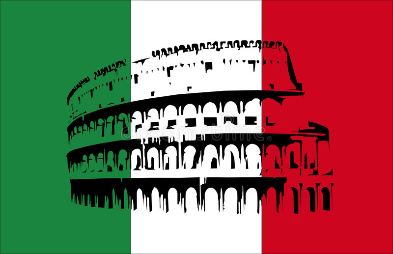 Coliseum and flag of Italy stock illustration