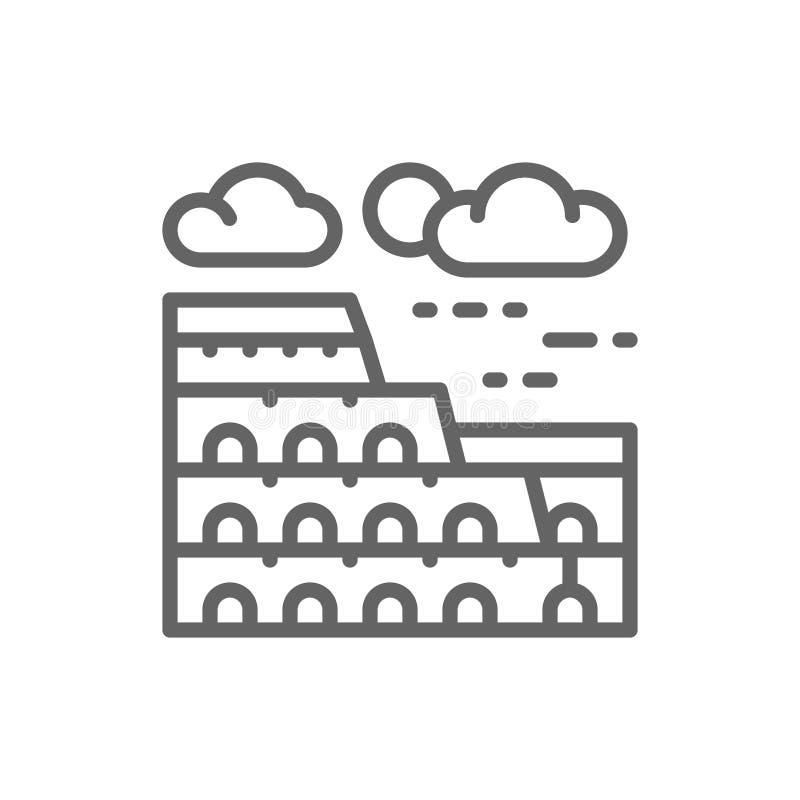 Coliseum, Italy, landmark line icon. stock illustration