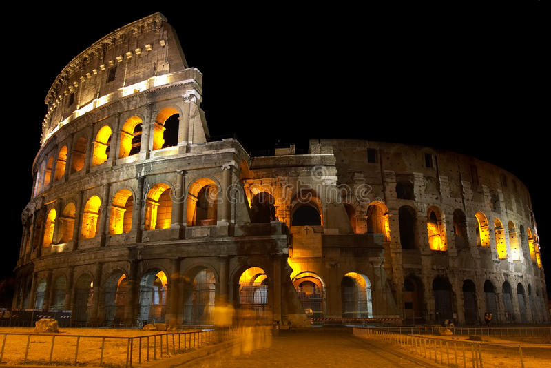 Coliseum at night. A beautiful view to Coliseum at night stock image
