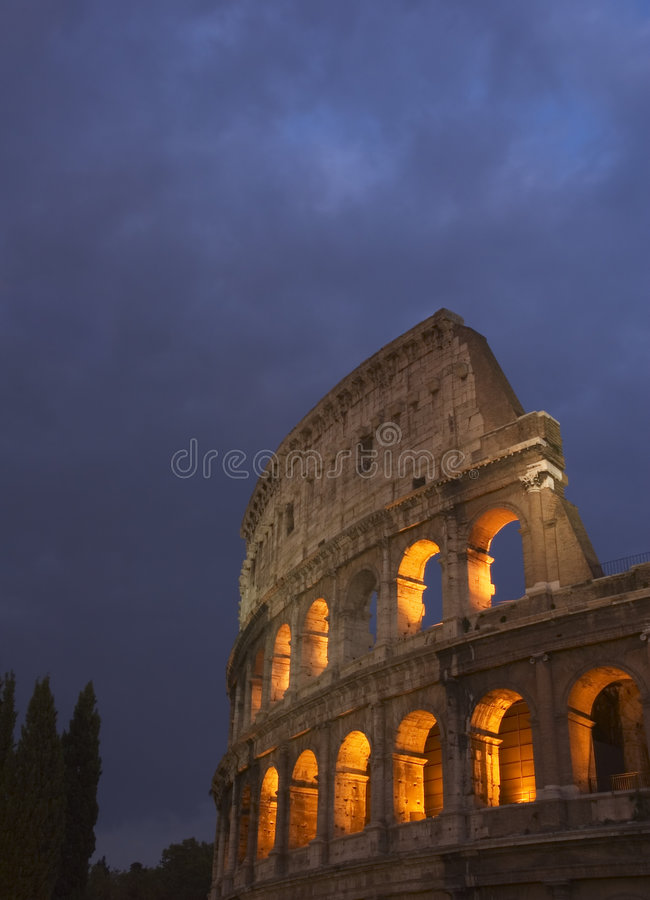 Coliseum at night royalty free stock photo