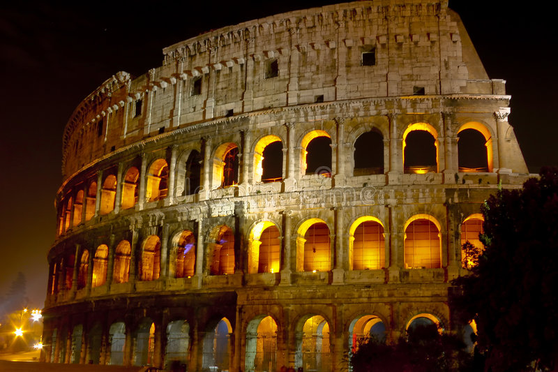 Download Coliseum at night stock image. Image of building, italian - 2340261