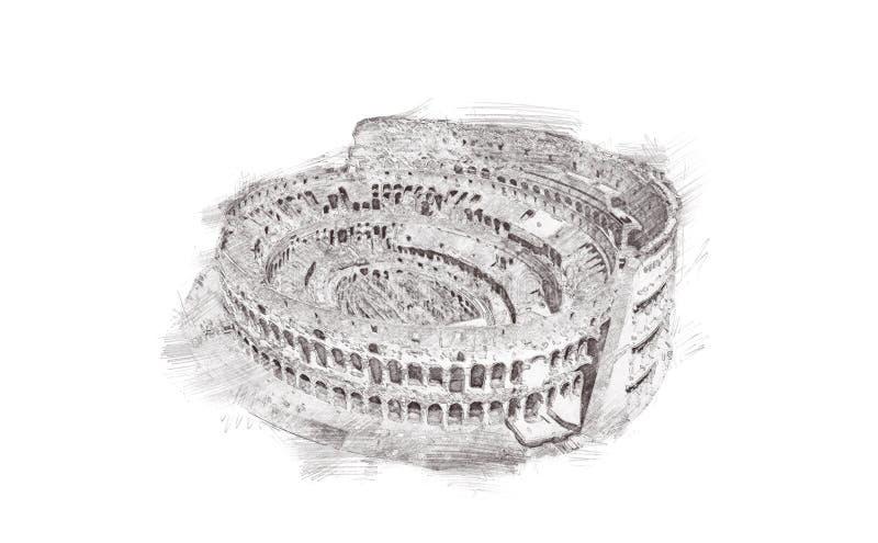 coliseum roma Italy Entregue o esboço tirado do marco do lápis, isolado no fundo branco ilustração royalty free