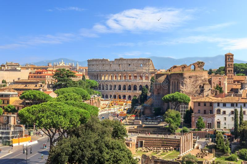 Coliseum and Roman Forum view from the Altar of the Fatherland, Rome, Italy royalty free stock photos