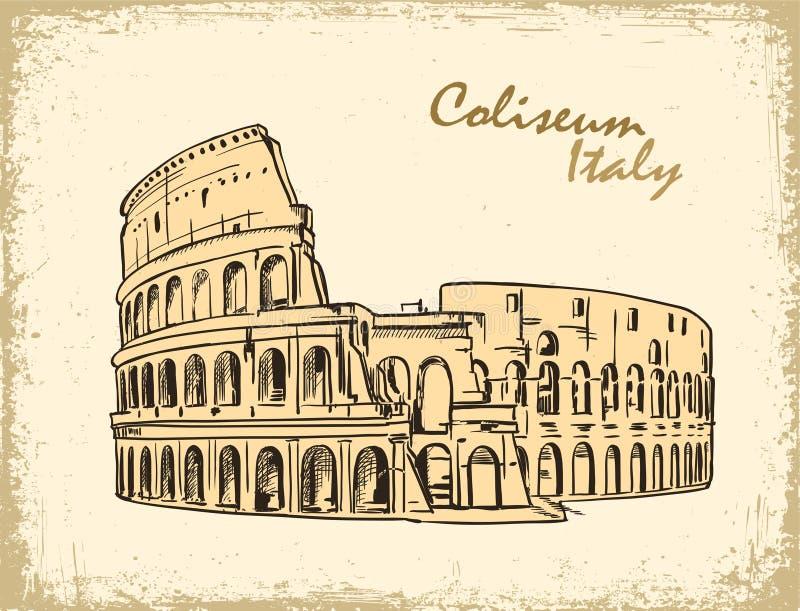 Coliseum in Rome, Italië Colosseumhand getrokken vectorillustratie stock illustratie