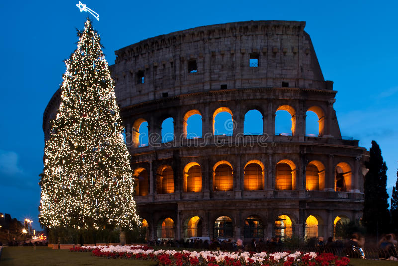 Coliseum van Kerstmis royalty-vrije stock foto's