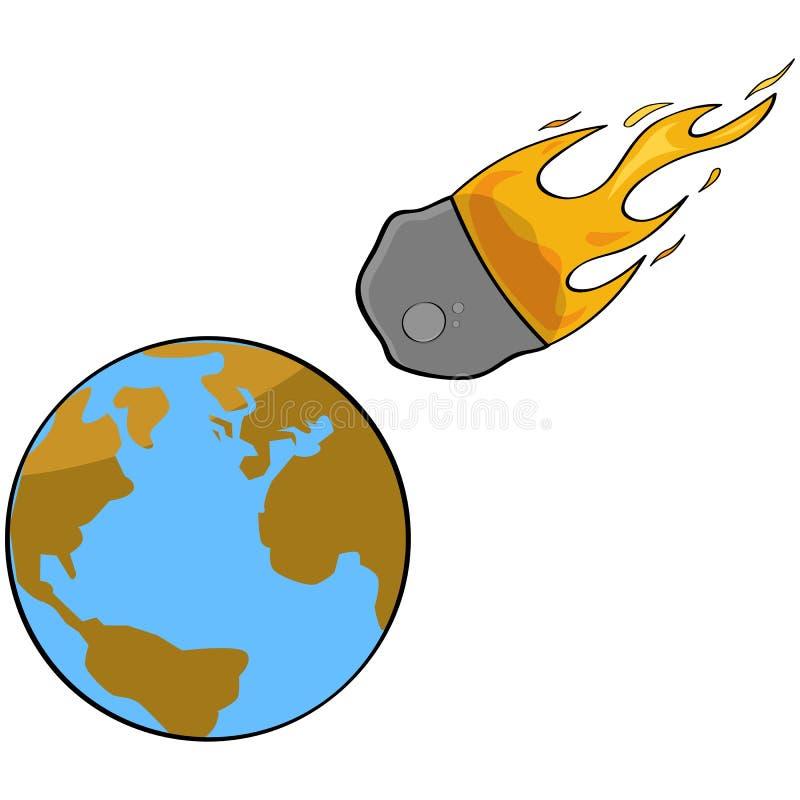 Colisión asteroide ilustración del vector