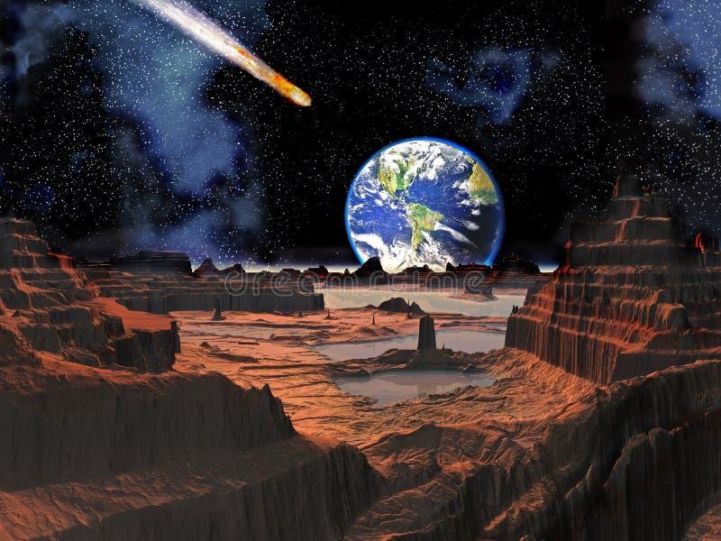 Colisión asteroide con la tierra vista de la luna stock de ilustración