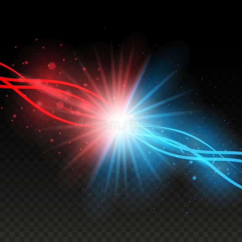 Colisión de dos fuerzas con las luces rojas y azules Concepto de la explosión Aislado en fondo transparente negro Ilustración del ilustración del vector