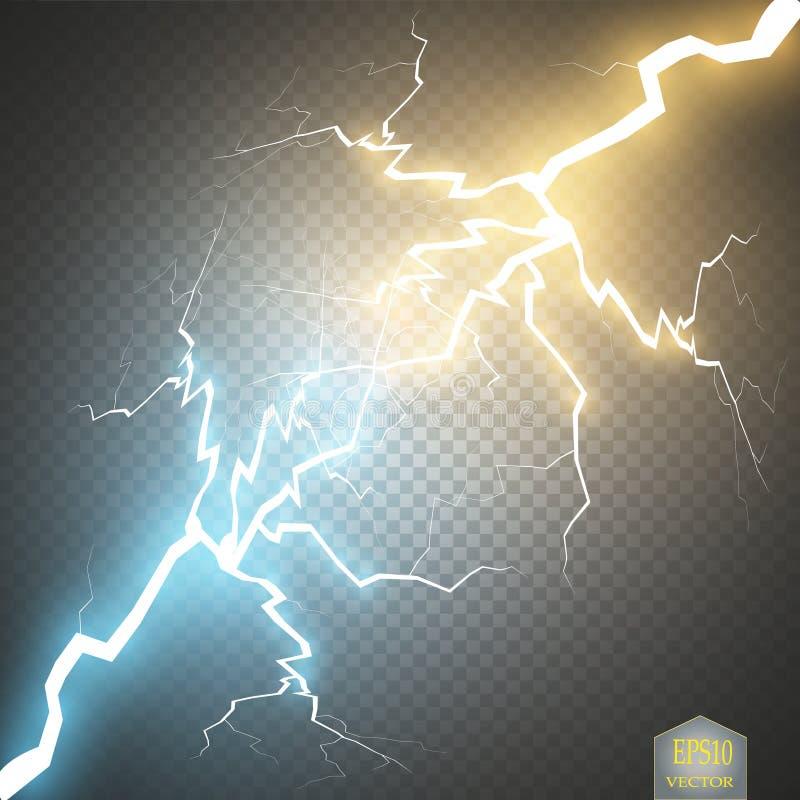 Colisión de dos fuerzas con oro y luz azul Ilustración del vector Poder chispeante caliente y frío Relámpago de la energía stock de ilustración