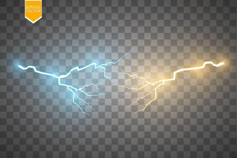 Colisión de dos fuerzas con oro y luz azul Ilustración del vector Poder chispeante caliente y frío Relámpago de la energía libre illustration