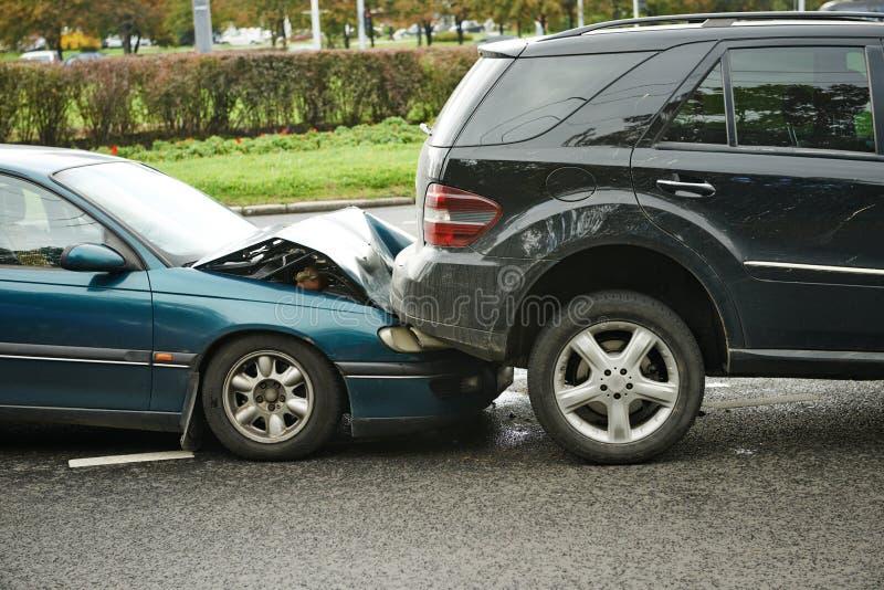Colisión del choque de coche foto de archivo