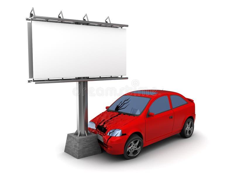Colisión del coche con la cartelera stock de ilustración