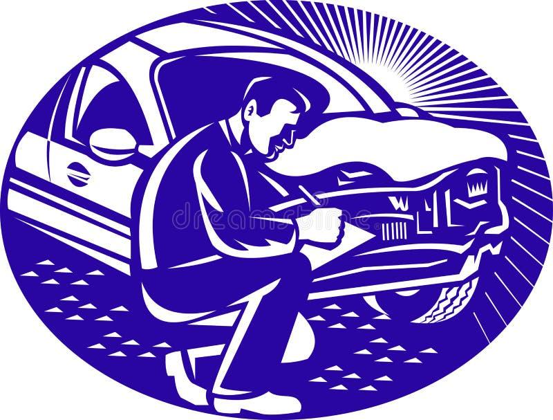 Colisión del coche del ajustador de seguro auto libre illustration