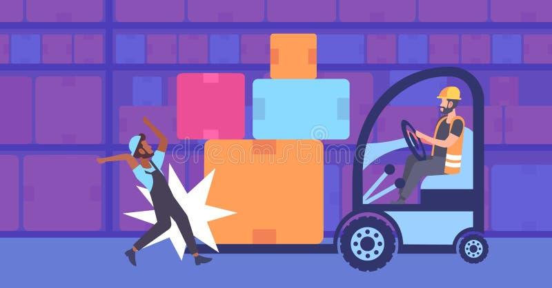 Colisión durante accidente de trabajo de la operación de la carretilla elevadora en el concepto interior de la seguridad en el tr libre illustration