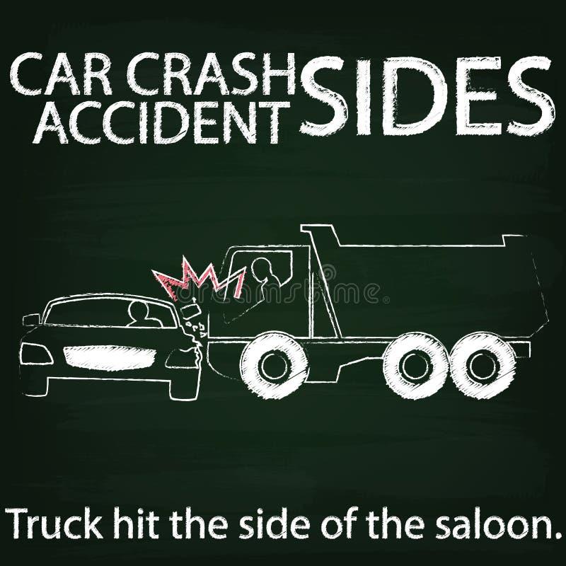 Colisión lateral del PLIEGUE Y del choque de coche por la tiza ilustración del vector