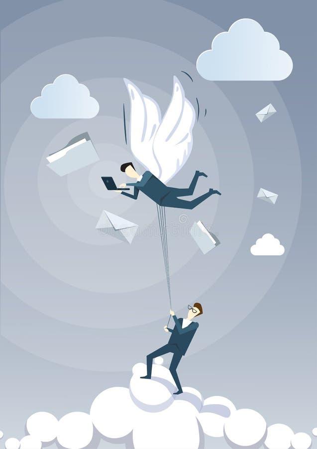 Collègue de prise d'homme d'affaires avec des ailes volant en ciel utilisant l'ordinateur portable causant en ligne illustration de vecteur