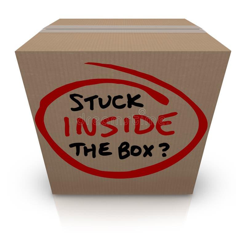 Collé à l'intérieur des idées sans originalité éventées de boîte la même bureaucratie illustration de vecteur