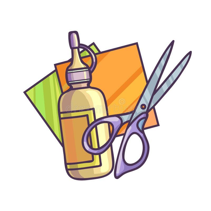 Colla, carta e forbici Illustrazione di vettore royalty illustrazione gratis