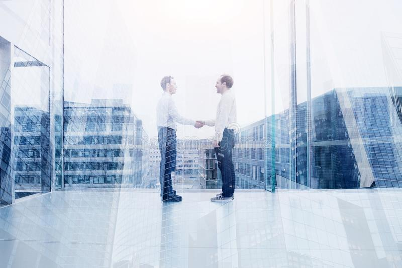 Collaboration, business deal or cooperation concept stock photography