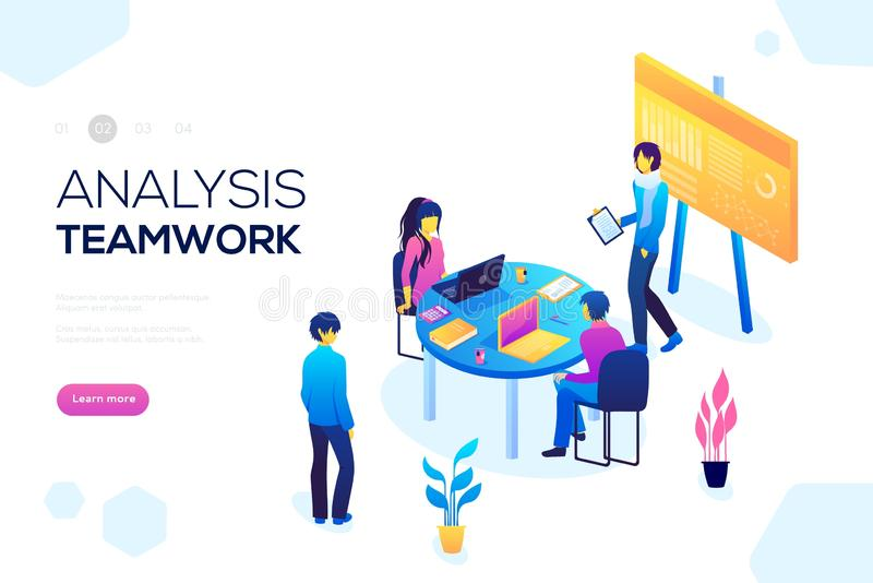 Collaboration concept with collaborative people vector. Project management and financial report strategy royalty free illustration
