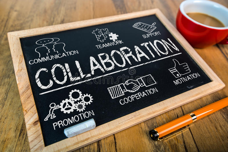 Collaboration concept on small blackboard stock images