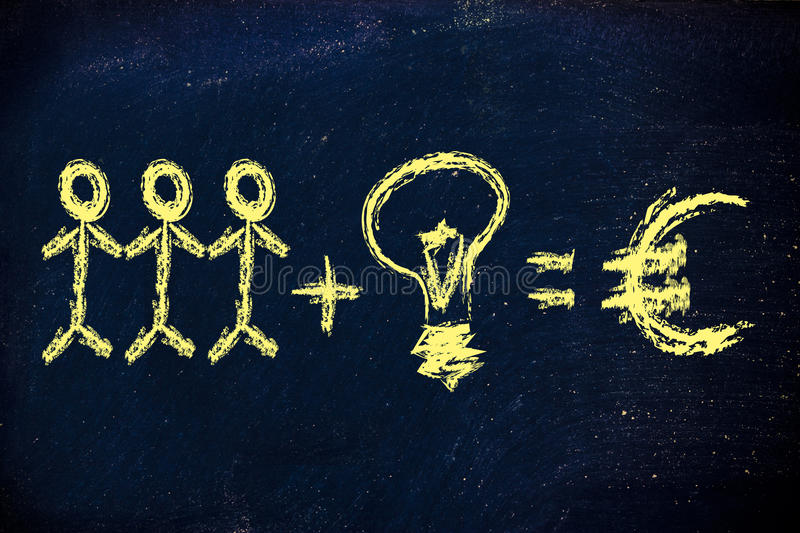 Download Collaboration And Ideas Are Key To Company Earnings Stock Image - Image of chalk, conceptual: 30759127