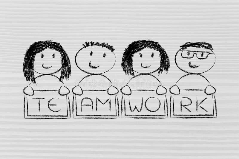 Collaboration, partageant le travail et le travail d'équipe : illu drôle de caractères illustration libre de droits