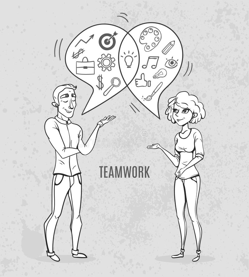 Download Collaboration Of Two People Creative Woman And Man Analyst Business Sketch Stock Vector