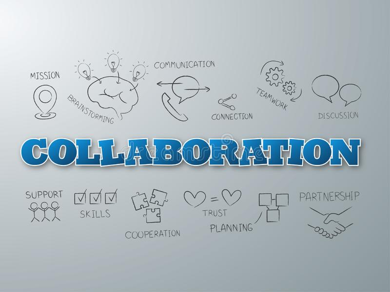 Collaboration blue word on light background. Vector illustration.  royalty free illustration