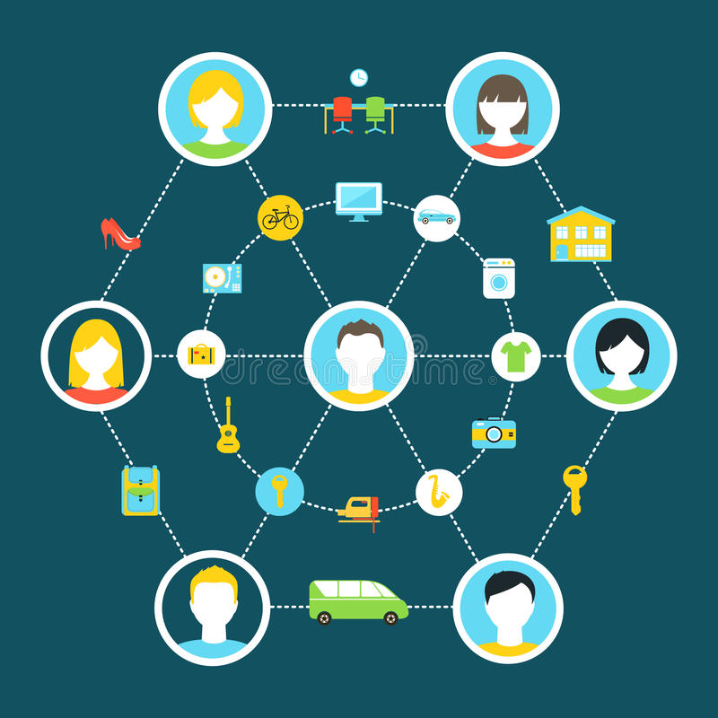 Collaborative Consumption and Shared Economy Concept Illustration. Shared Economy and Collaborative Consumption Concept Illustration vector illustration