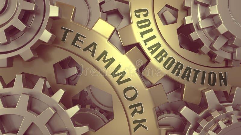 Collaborazione di lavoro di squadra parole impresse sull'illustrazione della superficie di metallo 3d Oro e weel d'argento dell'i royalty illustrazione gratis