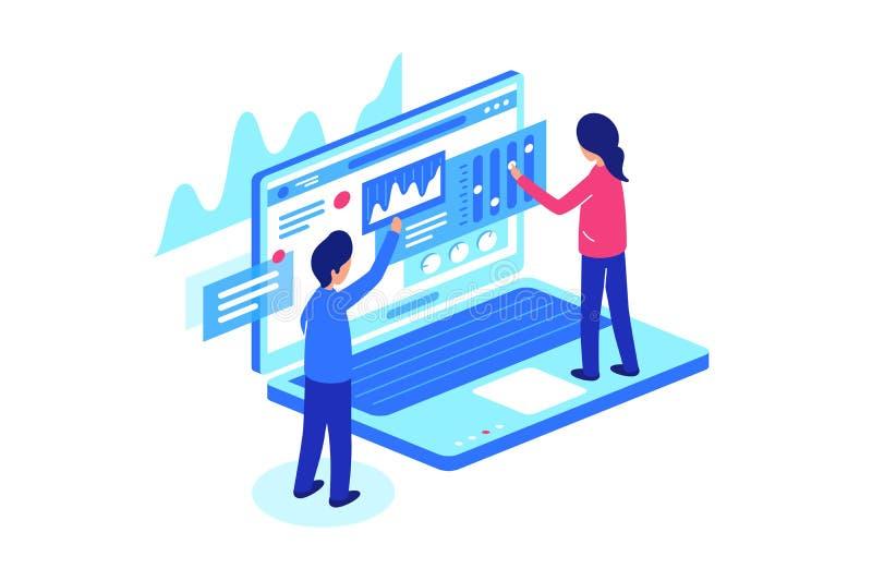 Collaborer avec des données sur des ordinateurs portables Illustration de vecteur illustration stock