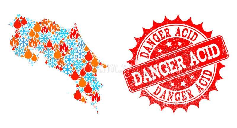 Collageöversikt av Costa Rica av brand och snö och skyddsremsan för farasyraGrunge stock illustrationer