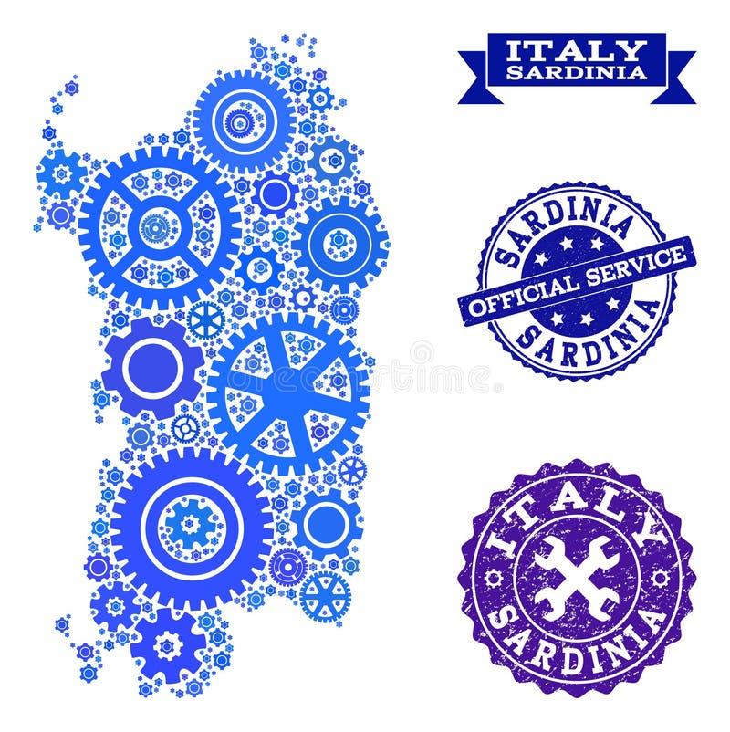 Collageöversikt av den Sardinia regionen med kugghjul och gummiskyddsremsor för service stock illustrationer