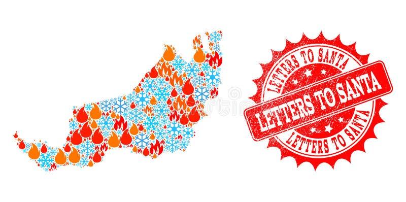 Collageöversikt av malaysiska Sarawak av flamman och snö och bokstäver till Santa Textured Stamp vektor illustrationer