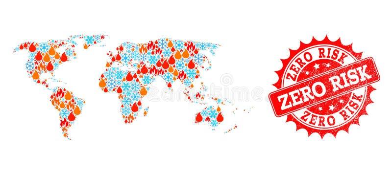 Collageöversikt av världen av den snö- och nollrisken för flamma och texturerad stämpel vektor illustrationer