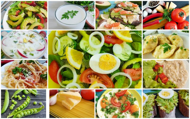 Collage är olik användbar mat arkivbild