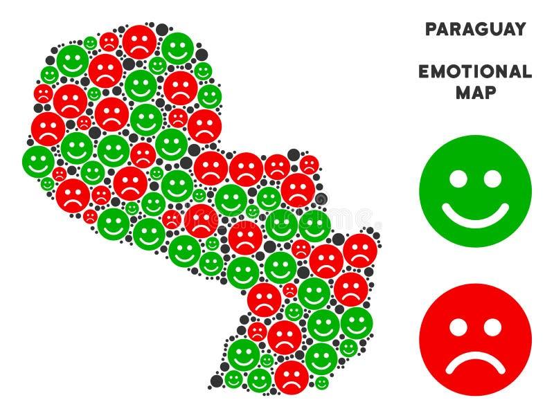 Collage émotif de carte du Paraguay de vecteur d'Emojis illustration stock