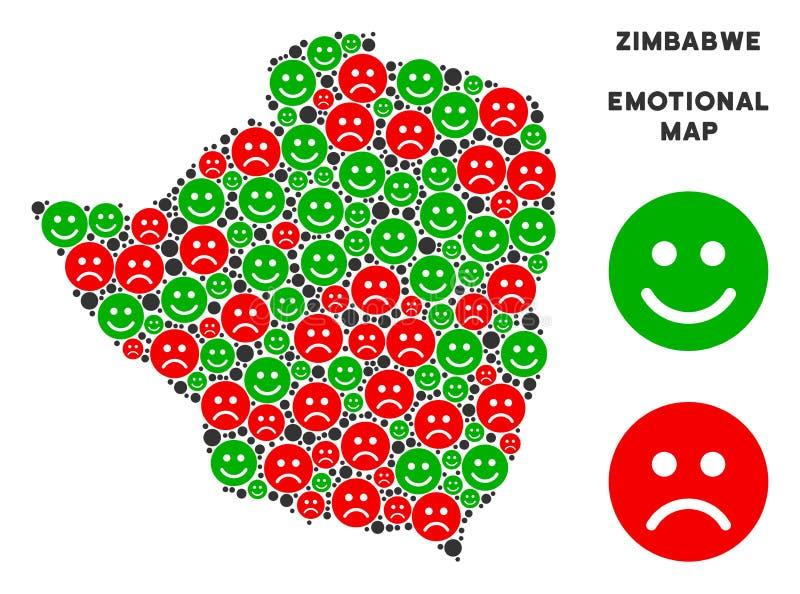 Collage émotif de carte du Zimbabwe de vecteur d'Emojis illustration de vecteur