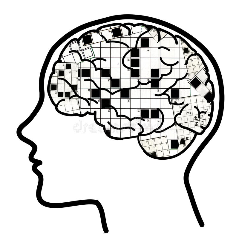 Collage 2 del cerebro de los crucigramas ilustración del vector