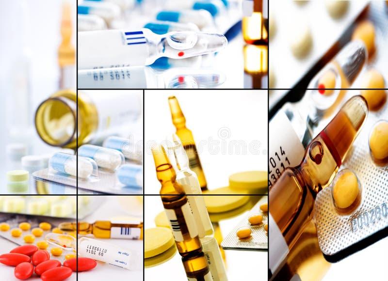 Collage 2 van pillen stock foto's
