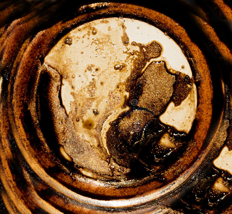Collage abstracto de las formas y de los círculos de oro, color del reflejo del café stock de ilustración