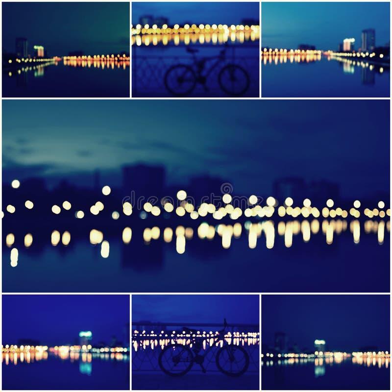 Collage abstrait de fond de belles lumières Defocused de ville, vue brouillée d'horizon de ville et réflexion au coucher du solei images libres de droits