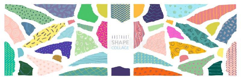 Collage abstrait de forme Calibre graphique minimal de papier de morceaux modernes de coupe, ensemble de décoration de bords de r illustration de vecteur