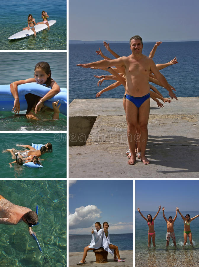 Collage active summer holiday stock image
