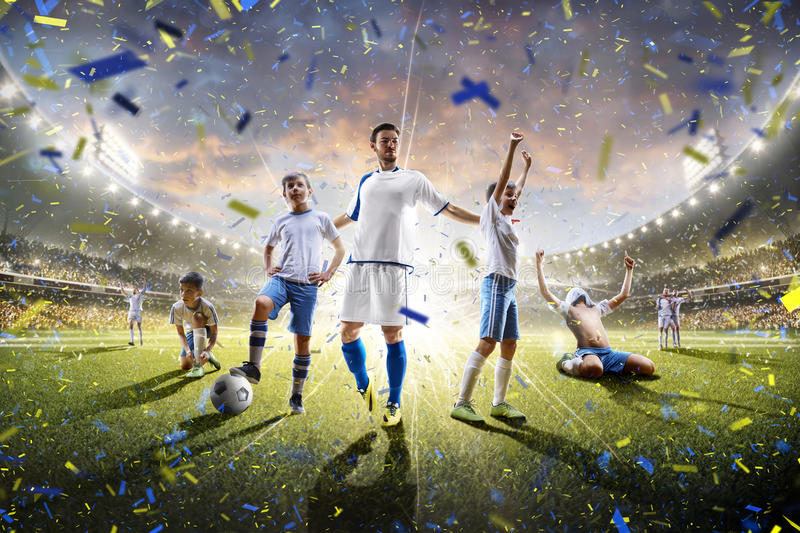 Collage adult children soccer players in action on stadium panorama. Collage from adult and childrens soccer players in action on the stadium background panorama royalty free stock photography