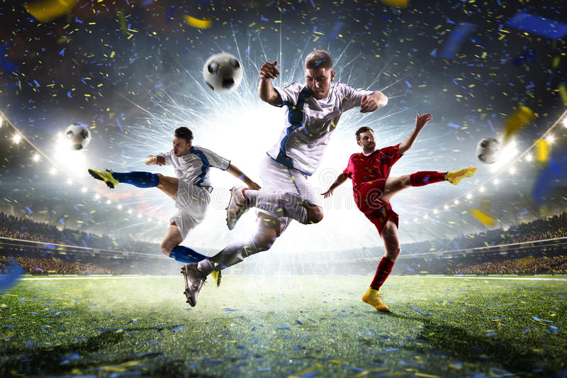 Collage adult soccer players in action on stadium panorama. Collage adult soccer players in action on grand arena panorama royalty free stock photos