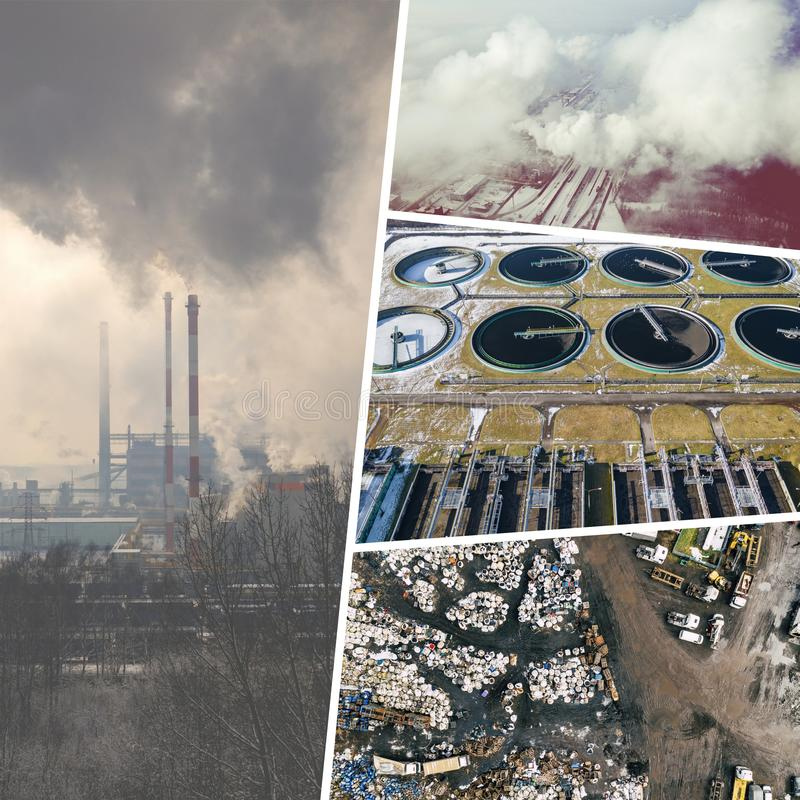 Collage of aerial vief of environmental degradation from above. Conceptual background. View from above royalty free stock photo