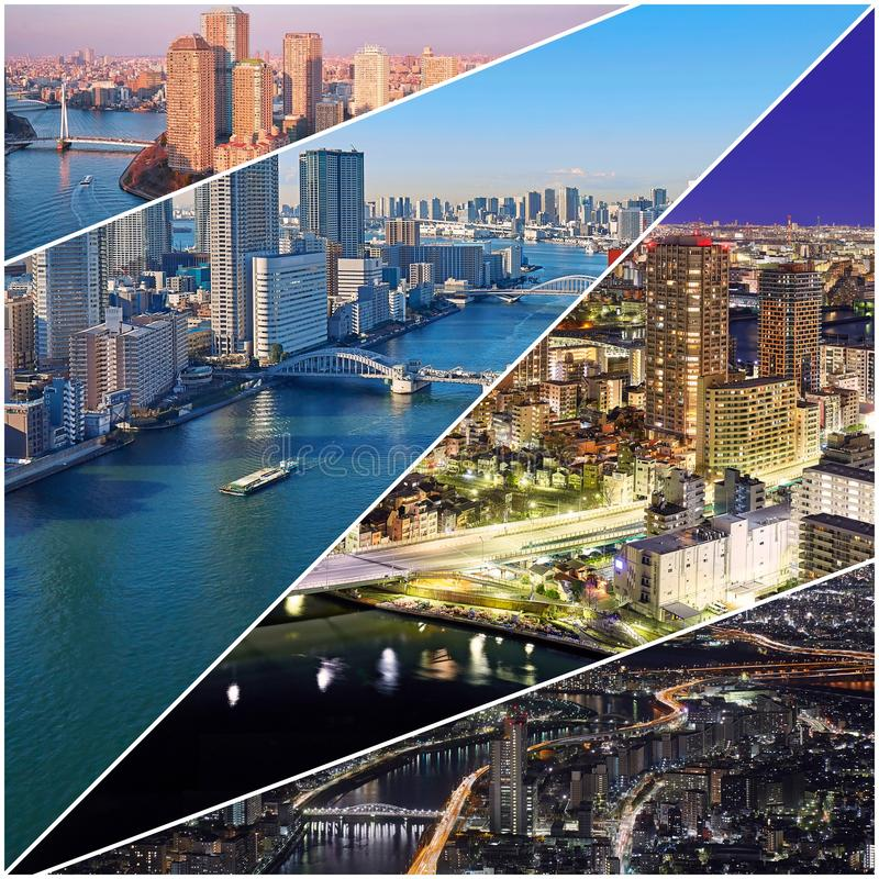 Collage aerial views of morning, day, evening and night Tokyo stock photos